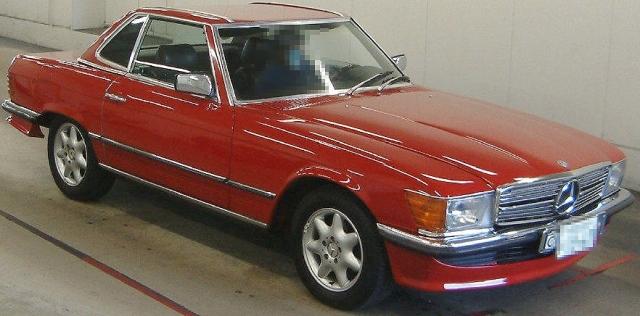 2012年10月旧車!昭和57年モデル3代目メルセデスベンツ280SL(R107型)のオークション落札相場