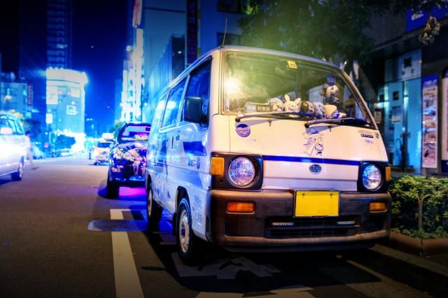 2014年7月26日撮影!秋葉原痛車ストリート(ボーカロイド雪ミク仕様KV4型スバル・サンバーバン)