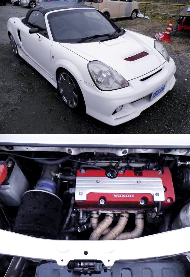 国内販売!ホンダK20A型i-VTECエンジン換装6速MT仕様!トヨタMR-S&3S-GE換装サイオンFRS動画