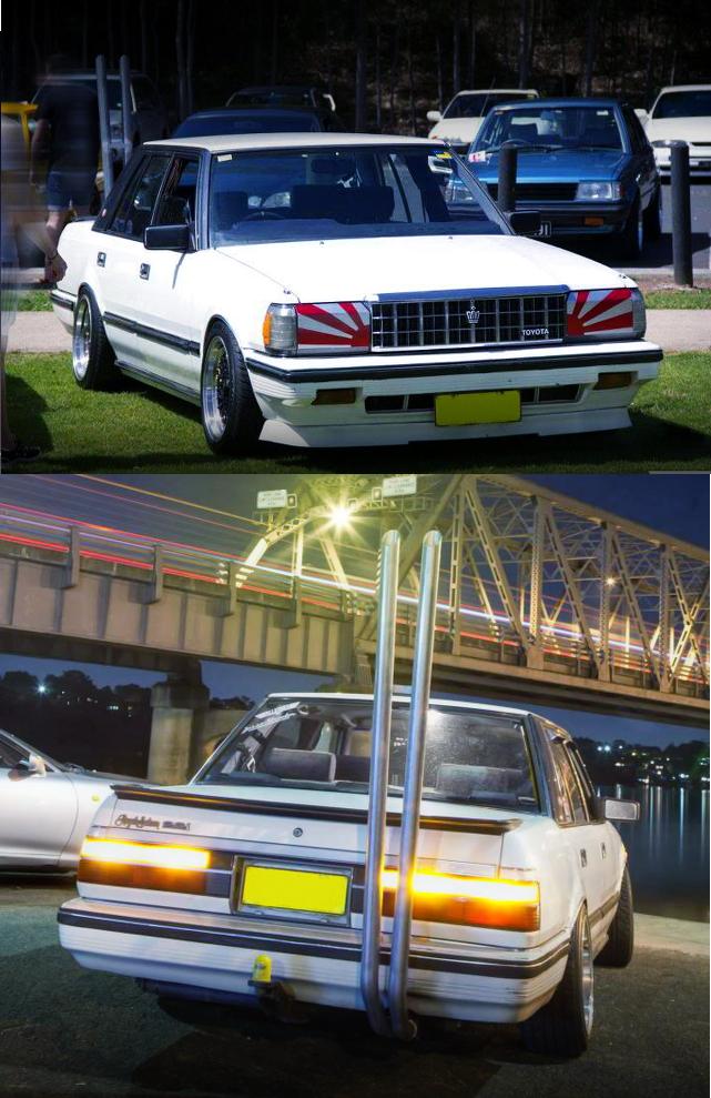 (オーストラリア)街道レーサードリフト仕様!竹やりマフラー!MS123型トヨタ・クラウンセダン