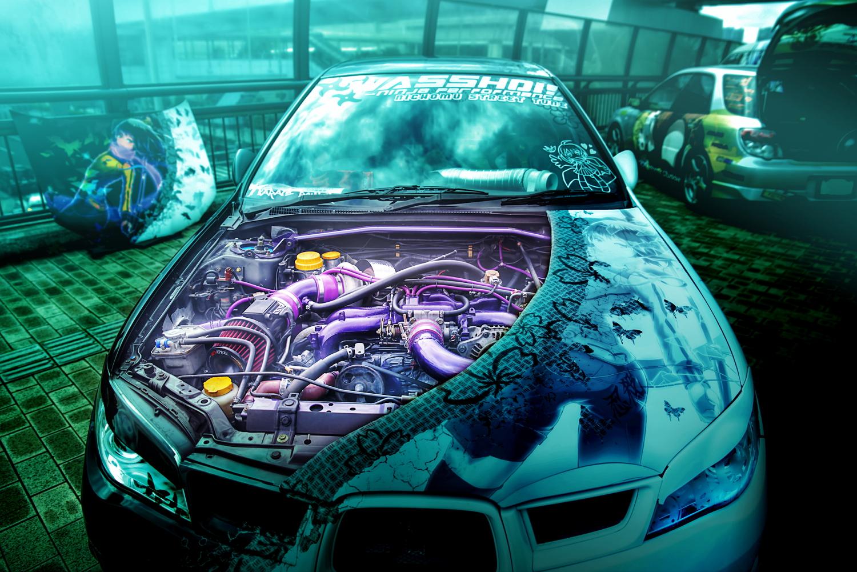 アクアシティお台場「エイプリルハロウィン」痛車(ニンジャスレイヤー・GF8インプレッサワゴン/80スープラ(しのえもんさん))