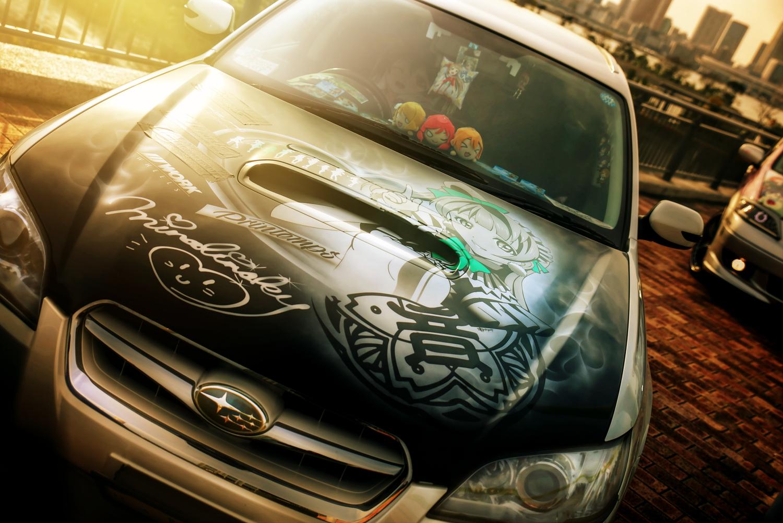 アクアシティお台場「エイプリルハロウィン」ラブライブ!痛車(インプレッサ/レガシィ/フィットRS/EP3シビック)