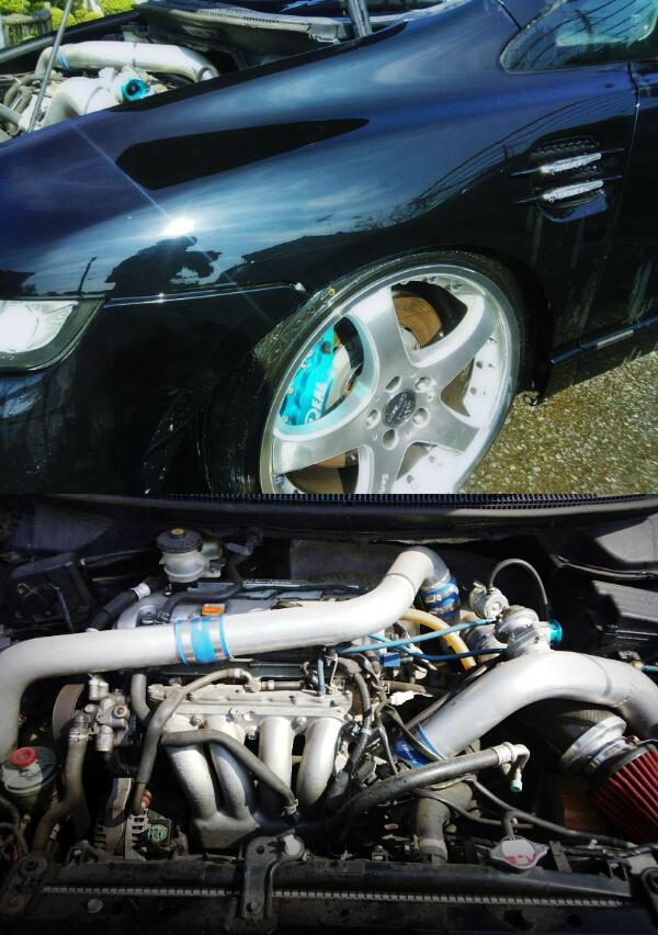 (部品取り)K24改GT2837タービン金プロ!イデアル8POT!RB1オデッセイ・アブソルート&上越市本町痛車フェス2015動画