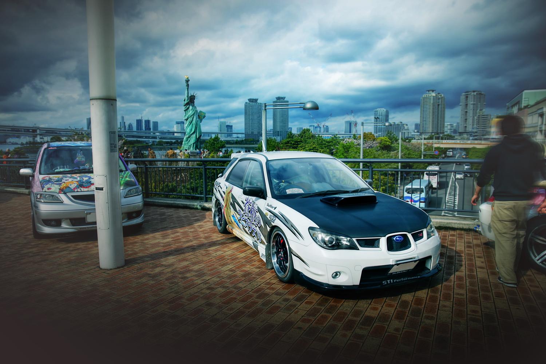 アクアシティお台場「エイプリルハロウィン」痛車(インプレッサワゴンWRX/BMW120i/Z33フェアレディZロードスター)