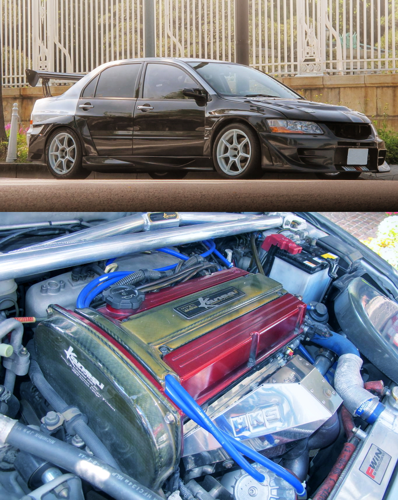 SPEEDBOX製GT3037改タービンVプロ制御!カーボンフェンダー・カーボンドア!ダッシュ貫通14点式!CT9Aランエボ8