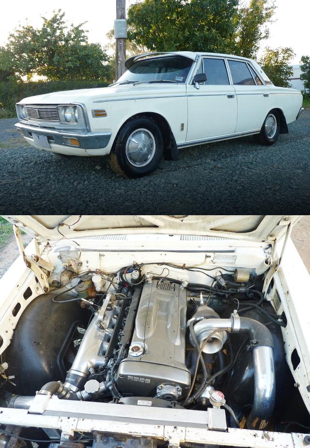 (海外)スカイラインGT-R用RB26DETTエンジン換装GT35タービン仕様!3代目S50系クラウン&ケンメリ・クラウンの草ヒロ