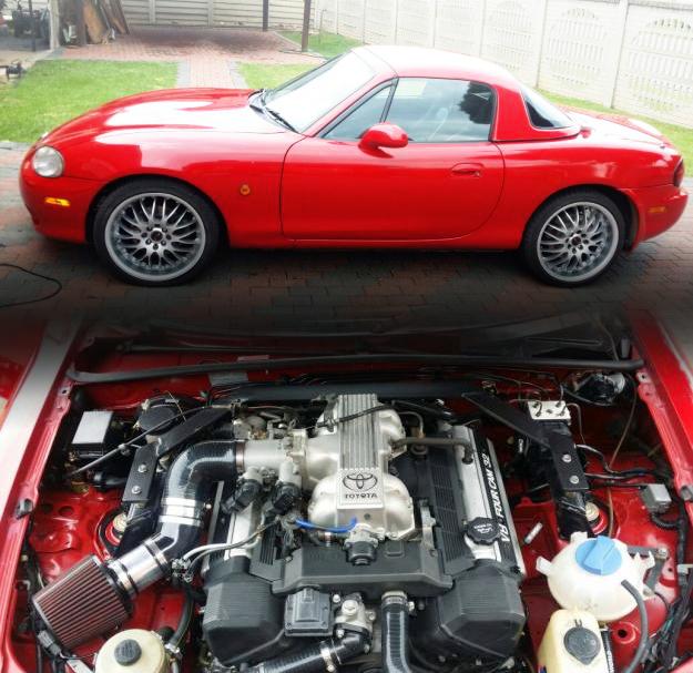 (南アフリカ)レクサス用V8型1UZ-FEエンジン移植!ミアータMX5(NB系ロードスター)&RB25DET換装S130ダットサン280Z動画