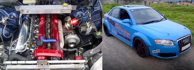 (南アフリカ)日産RB25DETターボエンジン移植!BMW用6速MT換装!B7系フェイス化!B6系アウディA4