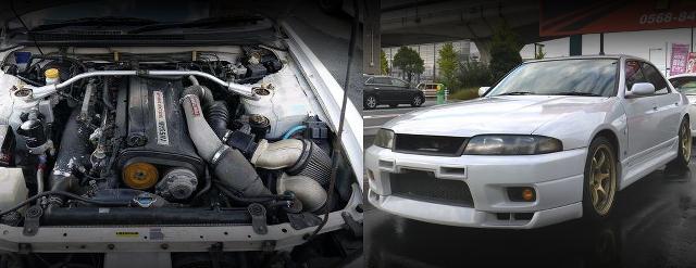 RB26DETTエンジン公認GT2530ツインターボ!ENR33スカイライン2.5GTS-4&1UZエンジン移植S14系240SX動画