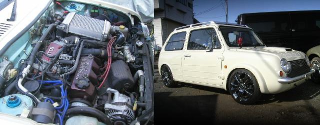 マーチスーパーターボ用ツインチャージャーEGミッション移植!GTI-Rブレーキ!電動パワステ!PK10日産パオ