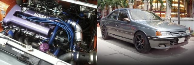 (タイ)ウエストゲート仕様!日産SR20DETターボエンジン横置き移植!ブレンボブレーキ!プジョー405セダン