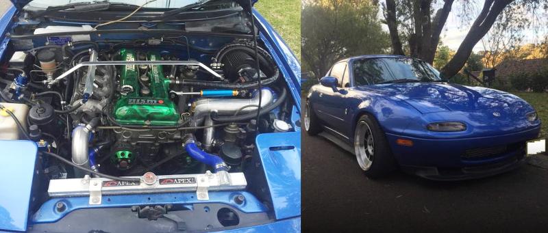 日産SR20エンジン改GT3071Rタービン仕上げ!S14用5速MT換装!!NA系マツダ・ロードスター(miata MX5)のオーストラリア中古車を紹介