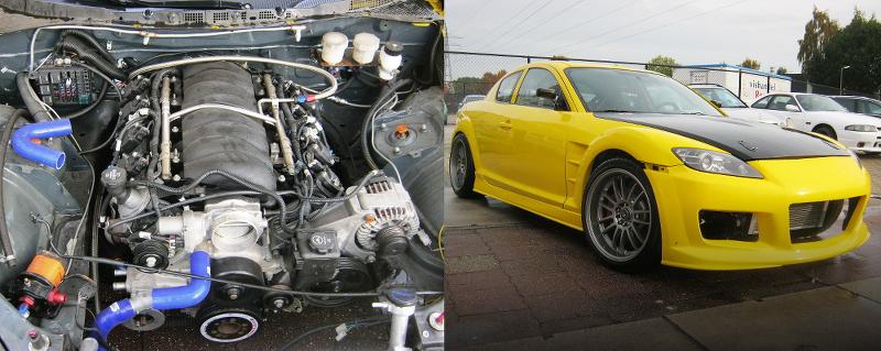 (オランダ)6.2リッターV8型LS3ドライサンプエンジン搭載!ドリフトカー仕上げ!マツダRX-7&RB25DETエンジン搭載!ホンダS2000動画