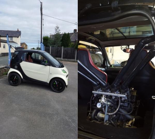 (イギリス)カワサキ・ニンジャZX12R用1200ccバイクエンジン移植!SMARTフォーツー&掲載車の走行動画