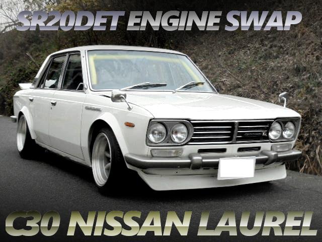 黒ヘッドSR20ターボエンジン5速MT移植!オーバーフェンダーワイドボディ!初代C30型ローレル4ドアの中古車を掲載。