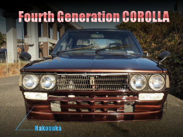 フロントC10ハコスカ仕上げ!4AGエンジン5MT換装!4代目E70型カローラ4ドアセダンの中古車を掲載!