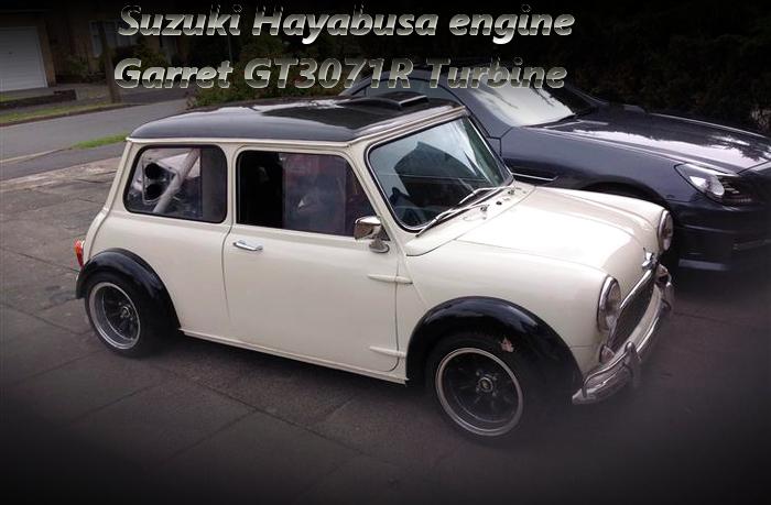 スズキ隼1.3Lバイクエンジン換装!GT3071Rウエストゲートターボ!クラシックMINIのイギリス中古車を掲載!