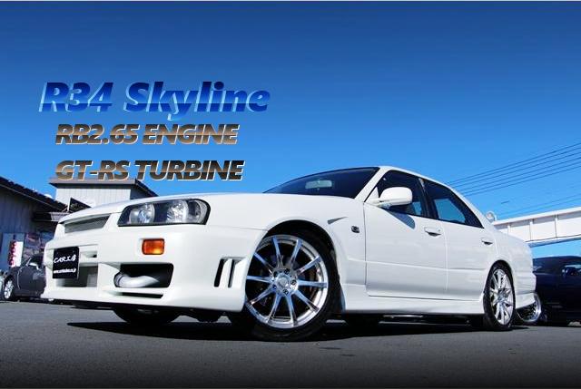 テスタロッサ製RB25改2.65Lエンジン搭載GT-RSタービン!マインズECU制御!R34スカイライン4ドアの中古車を掲載。