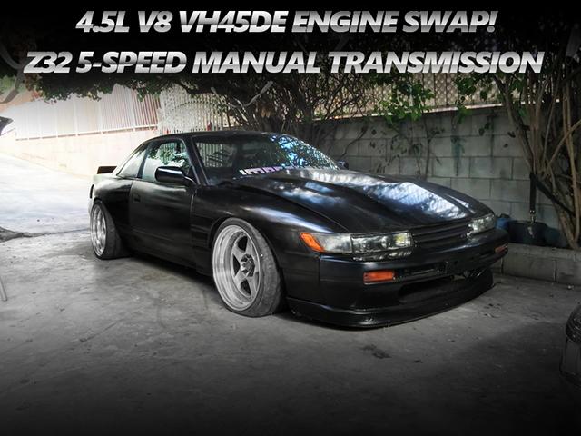 インフィニティQ45用VH45DEエンジンスワップ!Z32用5速MT換装!シルビア顔仕上げ!S13日産240SXのロサンゼルス中古車を掲載。