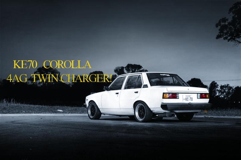 4A-GZEエンジン改TO4Eタービン+SC14スーパーチャージャー!KE70カローラ4ドアのオーストラリア中古車を掲載。