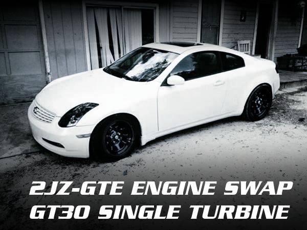 2JZ-GTEエンジン改ギャレットGT30フルタービン!エアコン・パワステ付き!V35系インフィニティG35クーペのアメリカ中古車を掲載。