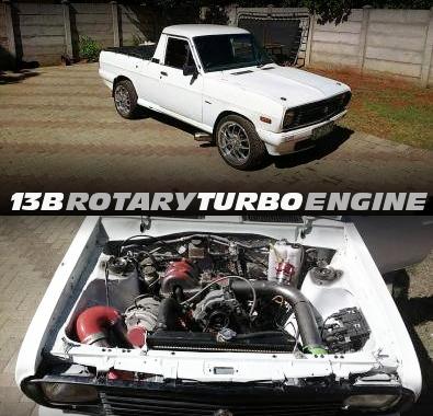13Bロータリーターボエンジン搭載マイクロテックフルコン制御!!サニートラック(1400バッキー)の南アフリカ中古車を掲載!