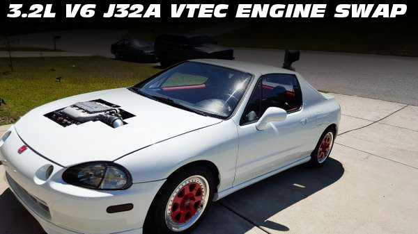 3.2リッターV6モデルJ32A型VTECエンジン換装6速MT組み合わせ!HONDAデルソル(CR-X)のアメリカ中古車を掲載!