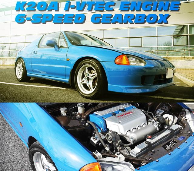 250馬力!K20A型iVTECエンジン6速MT仕上げHONDATA制御!ホンダCRXデルソルのアイルランド中古車を掲載!