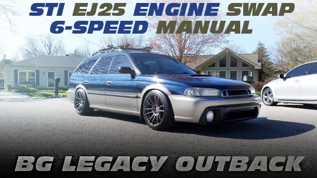 STI用EJ25エンジン移植VF45改タービン!STI用6速MT換装!BG系レガシィ・アウトバックのアメリカ中古車を掲載!