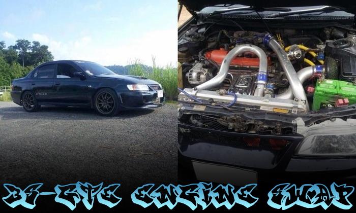 3S-GTEターボエンジンスワップ!7代目E100系カローラ4ドアのタイ中古車を掲載