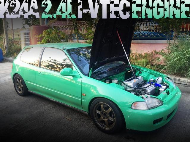 K24A型i-VTECエンジンスワップ!AEMフルコン制御!EG系シビックのタイ中古車を掲載