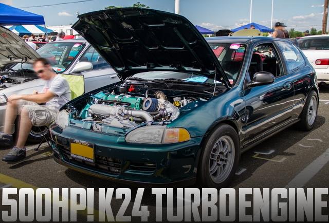 500馬力以上!K24エンジン改GTX3582Rタービン!EG系シビックCXのアメリカ中古車を掲載