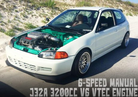 J32A型3.2リッターV6エンジン6速MT仕上げ!ワイヤータック・ブレーキタック!EG型シビックのアメリカ中古車を掲載