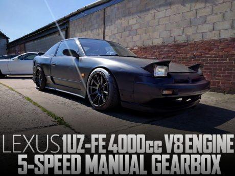 レクサス用1UZ-FE型V8エンジンスワップ!SR20用5速MT組み合わせ!日産200SX(S13系)のイギリス中古車を掲載