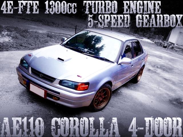 4E-FTE型1300ccターボエンジン5速MT仕上げ!4輪ディスクブレーキ!GTRエンブレム!AE110系カローラ4ドアのタイ中古車を掲載