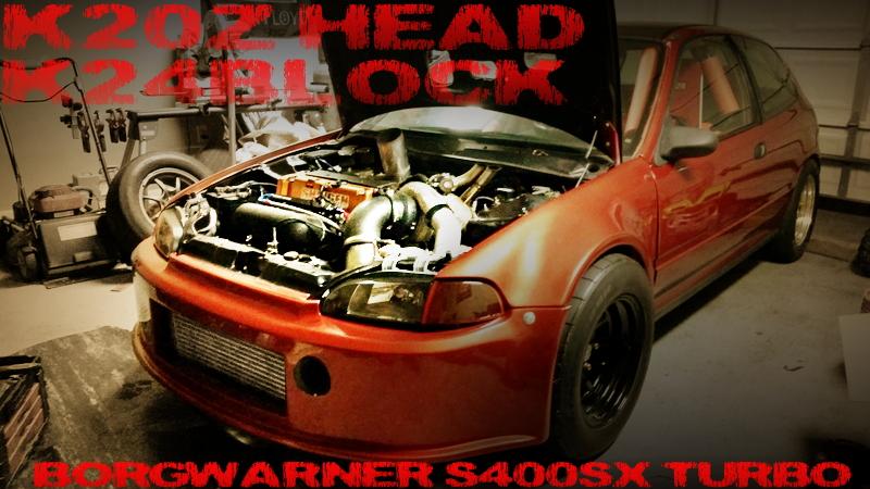800馬力!K20Zヘッド+K24ブロック!iVTECウエストゲートターボ!AEMフルコン制御!EG系シビックのアメリカ中古車を掲載