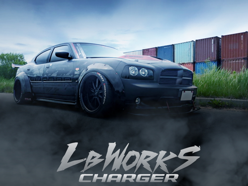 リバティウォーク公認!チャレンジャー用LBワークス加工装着!3代目LX型ダッジ・チャージャー2.7SEの国内中古車を掲載