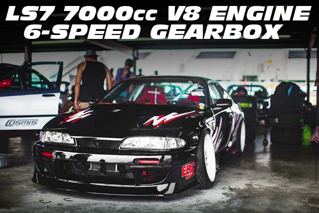 LS7型7000cc V8エンジン移植!6速MT仕上げ!ドリフト仕様S14日産240SXのアメリカ中古車を掲載
