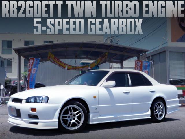 RB26DETTエンジン5速MT公認取得!GTRマスク仕上げ!R34スカイライン4ドアの国内中古車を掲載