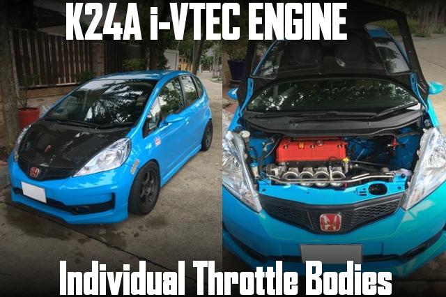K24A型i-VTECエンジン4連スロットル!AEMフルコン制御!HONDAジャズ(3代目GE系フィット)のタイ中古車を掲載