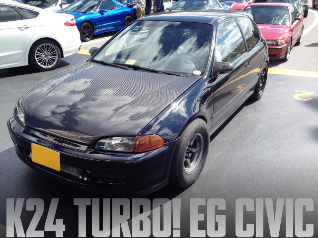 480馬力以上!K20Aヘッド+K24ブロック!GT3082RタービンKPRO制御!EGシビックのアメリカ中古車を掲載