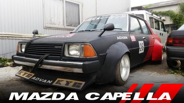 自家塗装ADVANカラー!ワークスワイドボディ!街道レーサー!3代目CB2NS型MAZDAカペラ4ドアの国内中古車を掲載