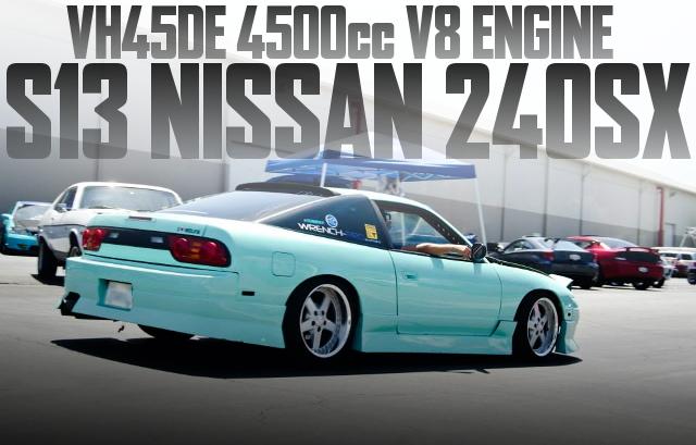 インフィニティ流用VH45型4.5リッターV8エンジン移植!S13日産240SXファストバックのアメリカ中古車を掲載