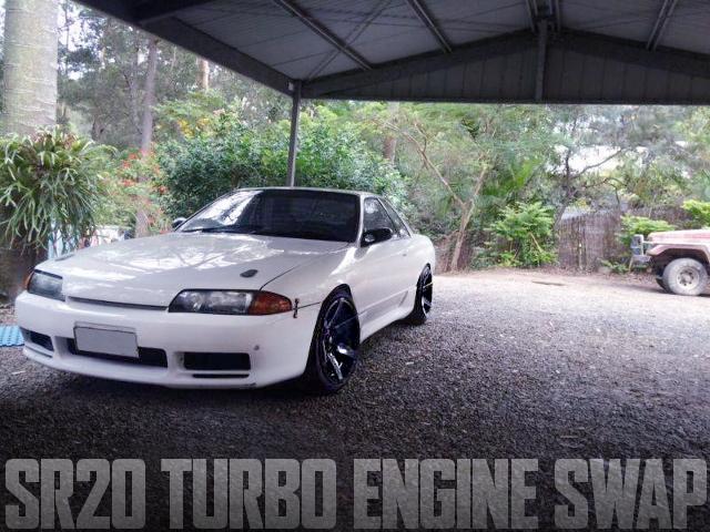 S13用SR20DETエンジン移植S15タービン仕上げ!R32日産スカイライン2ドアのオーストラリア中古車を掲載