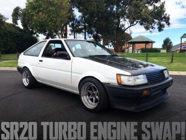 S13流用SR20ターボエンジン移植5速MT仕上げ!AE86型カローラレビンのオーストラリア中古車を掲載