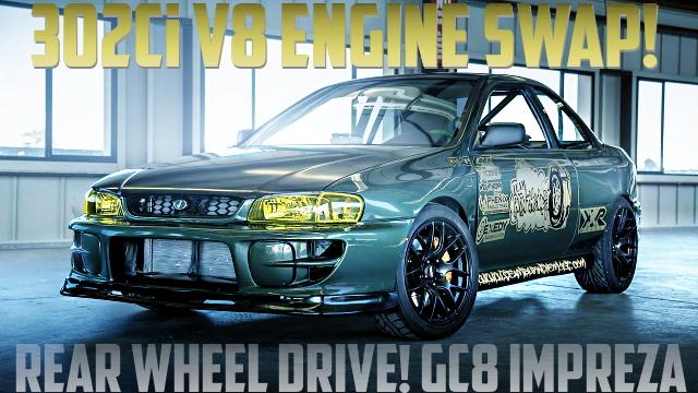 V8エンジン(フォード302ci)スワップ!後輪駆動仕上げ!ドリフト仕様GC8型インプレッサのアメリカ中古車を掲載