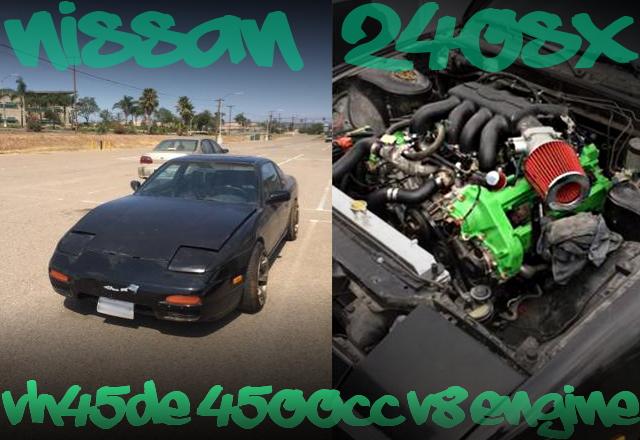 VH45DEエンジンスワップ!Z31用5速マニュアル組み合わせ!S13型240SX(ファストバック)のアメリカ中古車を掲載