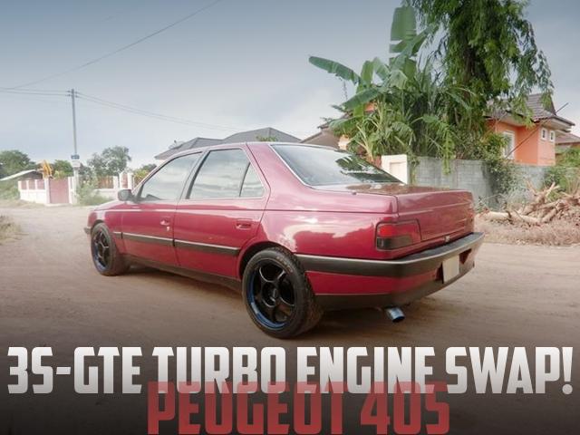 トヨタ用3S-GTE型2Lターボエンジン移植!3S-GE用5速マニュアル!インプレッサシート!プジョー405のタイ中古車を掲載