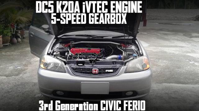 DC5タイプS用K20A型i-VTECエンジンスワップ5速MT仕上げ!F-CON・SZ制御3代目ES型シビックフェリオのタイ中古車を掲載