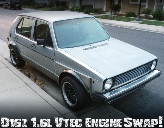 シビック流用D16Z型1.6リッターVTECエンジン5速MT仕上げ!初代VWゴルフI(ラビット)のアメリカ中古車を掲載
